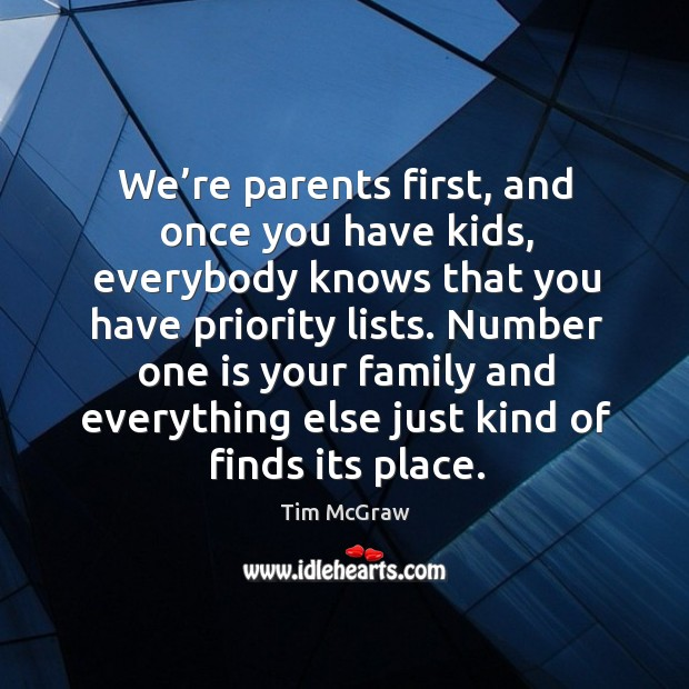 Number one is your family and everything else just kind of finds its place. Image