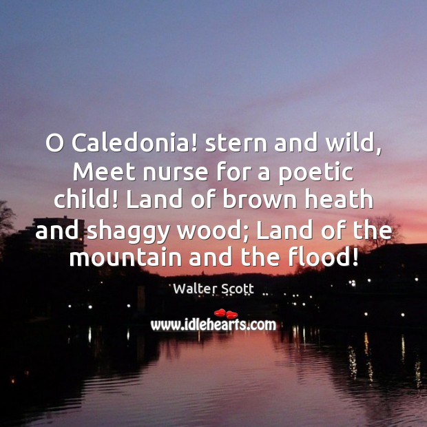 O Caledonia! stern and wild, Meet nurse for a poetic child! Land Walter Scott Picture Quote