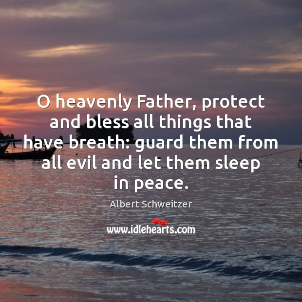 O heavenly Father, protect and bless all things that have breath: guard Albert Schweitzer Picture Quote