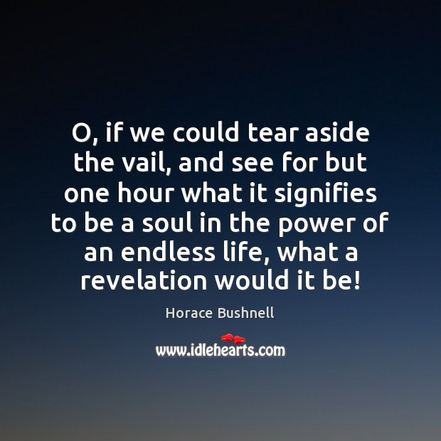Image, O, if we could tear aside the vail, and see for but