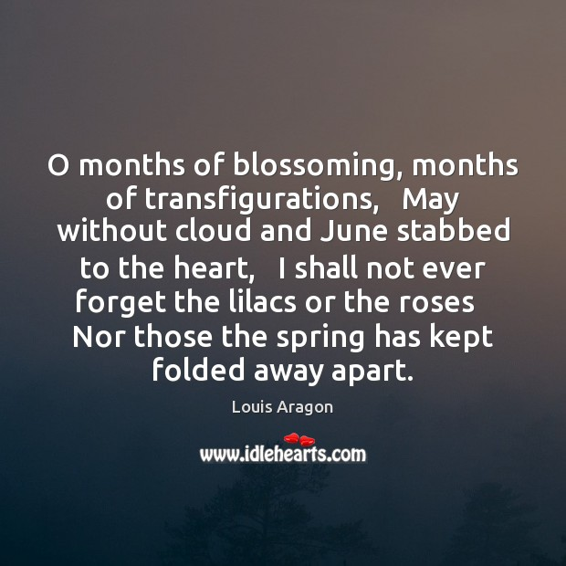 O months of blossoming, months of transfigurations,   May without cloud and June Louis Aragon Picture Quote