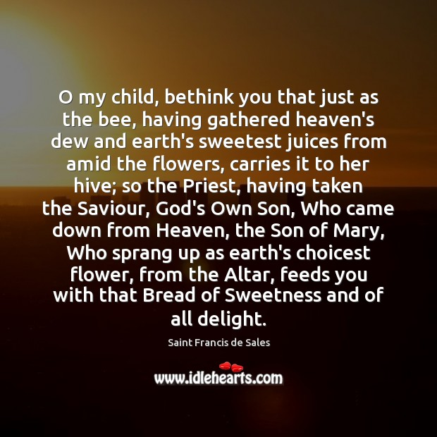 O my child, bethink you that just as the bee, having gathered Saint Francis de Sales Picture Quote