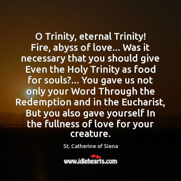 Image, O Trinity, eternal Trinity! Fire, abyss of love… Was it necessary that