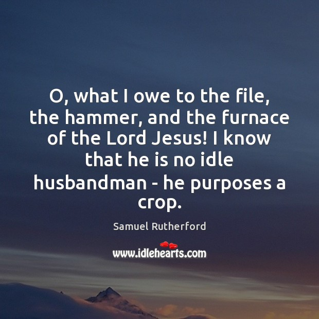 O, what I owe to the file, the hammer, and the furnace Samuel Rutherford Picture Quote