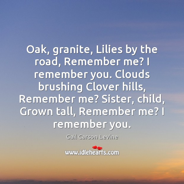 Oak, granite, Lilies by the road, Remember me? I remember you. Clouds Image