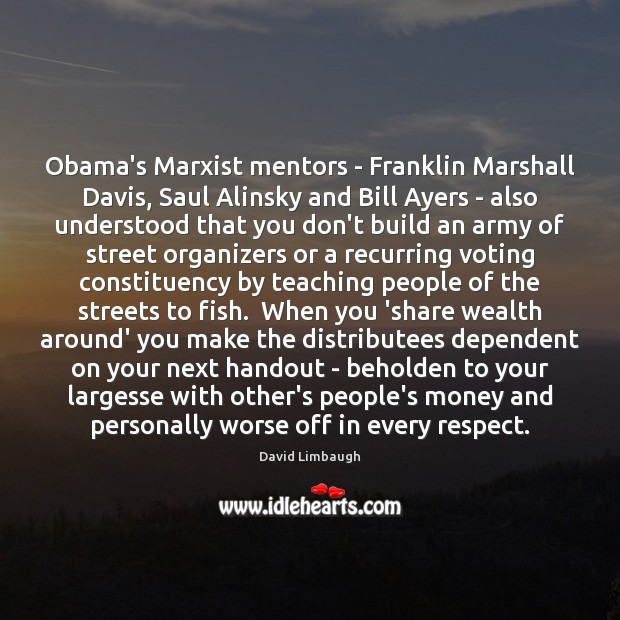 Obama's Marxist mentors – Franklin Marshall Davis, Saul Alinsky and Bill Ayers Vote Quotes Image