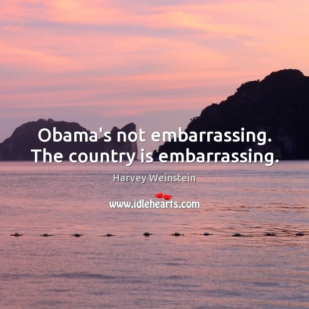 Obama's not embarrassing. The country is embarrassing. Image