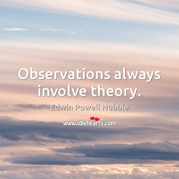 Observations always involve theory. Image