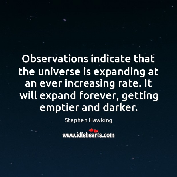 Observations indicate that the universe is expanding at an ever increasing rate. Image