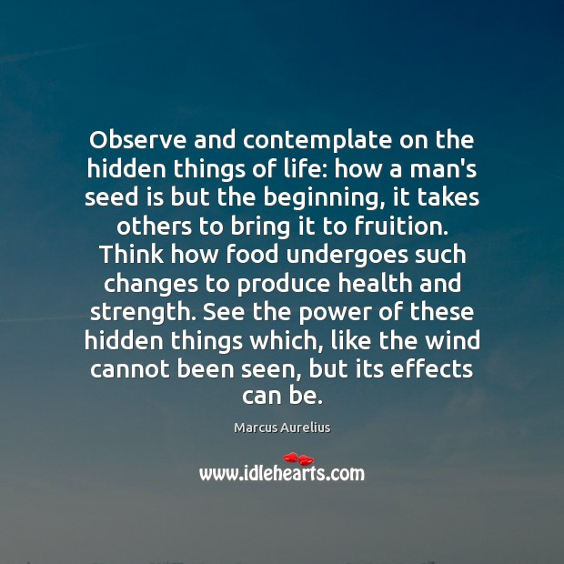Observe and contemplate on the hidden things of life: how a man's Image