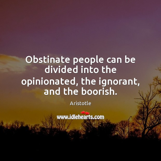 Obstinate people can be divided into the opinionated, the ignorant, and the boorish. Image