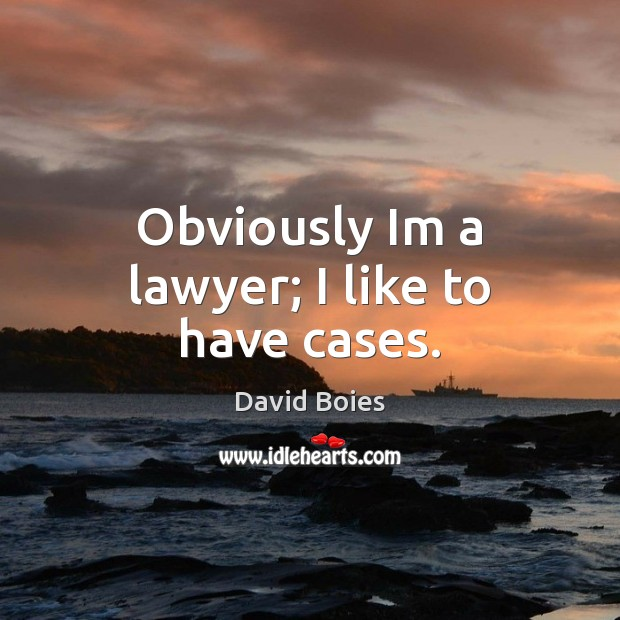 Obviously Im a lawyer; I like to have cases. Image