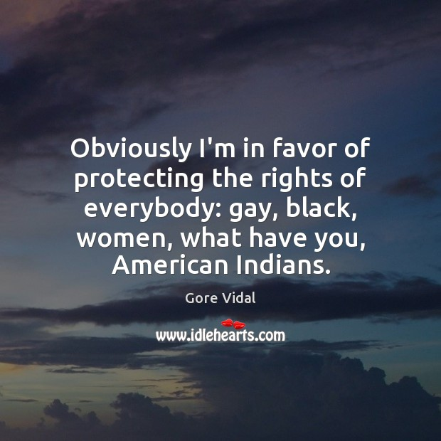 Image, Obviously I'm in favor of protecting the rights of everybody: gay, black,
