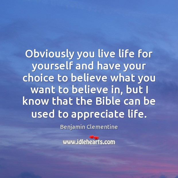 Image, Obviously you live life for yourself and have your choice to believe
