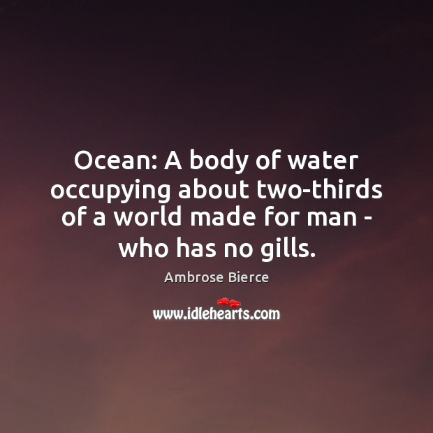 Image, Ocean: A body of water occupying about two-thirds of a world made