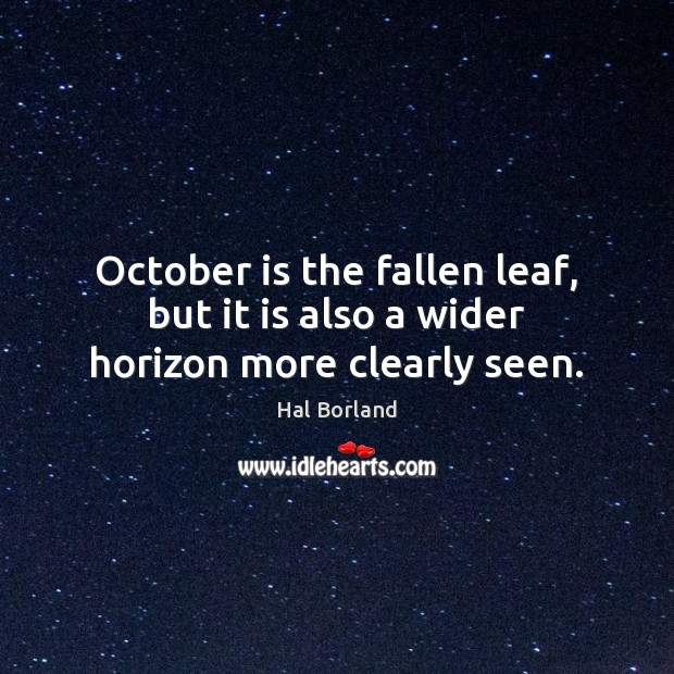 Image, October is the fallen leaf, but it is also a wider horizon more clearly seen.