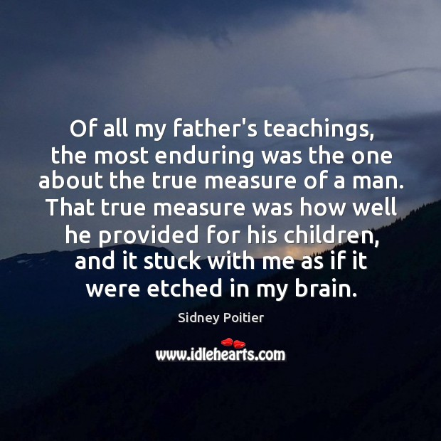 Of all my father's teachings, the most enduring was the one about Image