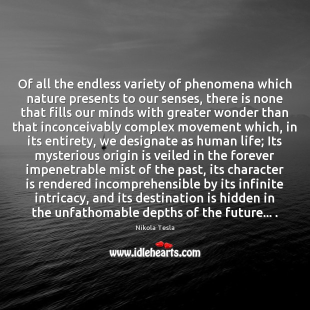 Of all the endless variety of phenomena which nature presents to our Nikola Tesla Picture Quote
