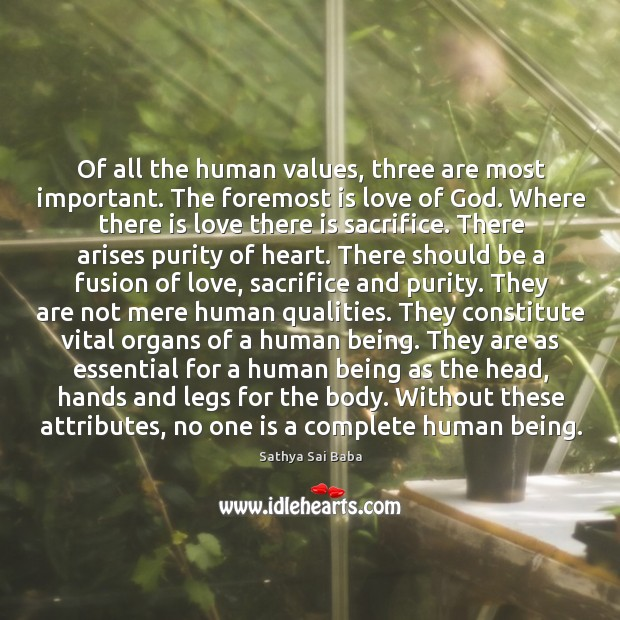 Of all the human values, three are most important. The foremost is Image