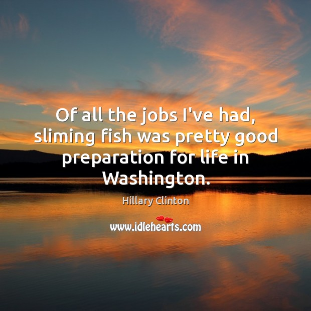 Of all the jobs I've had, sliming fish was pretty good preparation for life in Washington. Image
