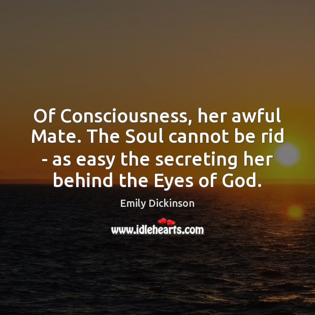 Image, Of Consciousness, her awful Mate. The Soul cannot be rid – as