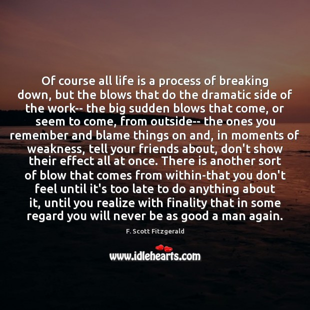 Of course all life is a process of breaking down, but the Image