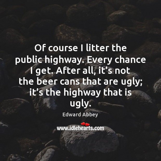 Of course I litter the public highway. Every chance I get. After Image