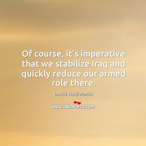 Of course, it's imperative that we stabilize iraq and quickly reduce our armed role there. David Hackworth Picture Quote