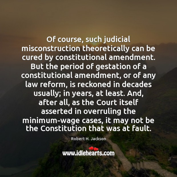 Image, Of course, such judicial misconstruction theoretically can be cured by constitutional amendment.