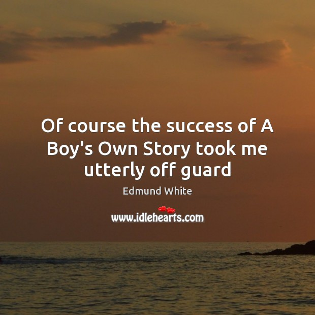 Of course the success of A Boy's Own Story took me utterly off guard Image