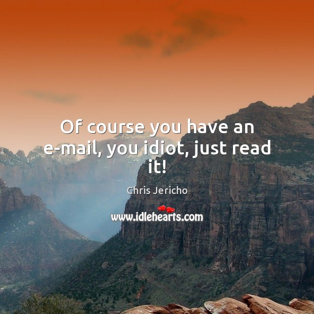 Of course you have an e-mail, you idiot, just read it! Chris Jericho Picture Quote