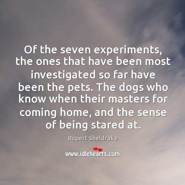 Of the seven experiments, the ones that have been most investigated so far have been the pets. Rupert Sheldrake Picture Quote