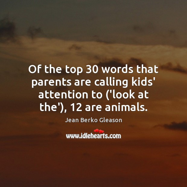 Of the top 30 words that parents are calling kids' attention to ('look Image