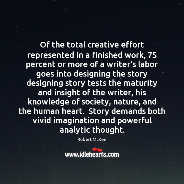 Of the total creative effort represented in a finished work, 75 percent or Image