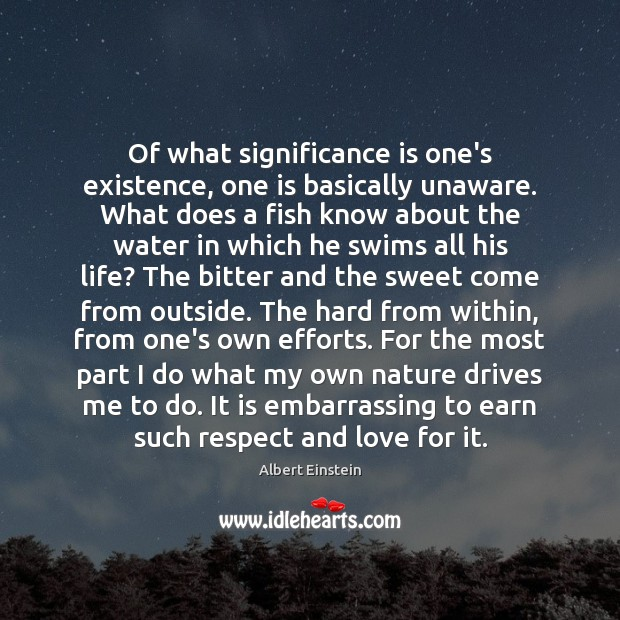 Of what significance is one's existence, one is basically unaware. What does Image