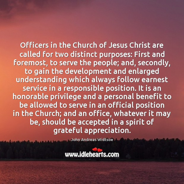 Officers in the Church of Jesus Christ are called for two distinct Image