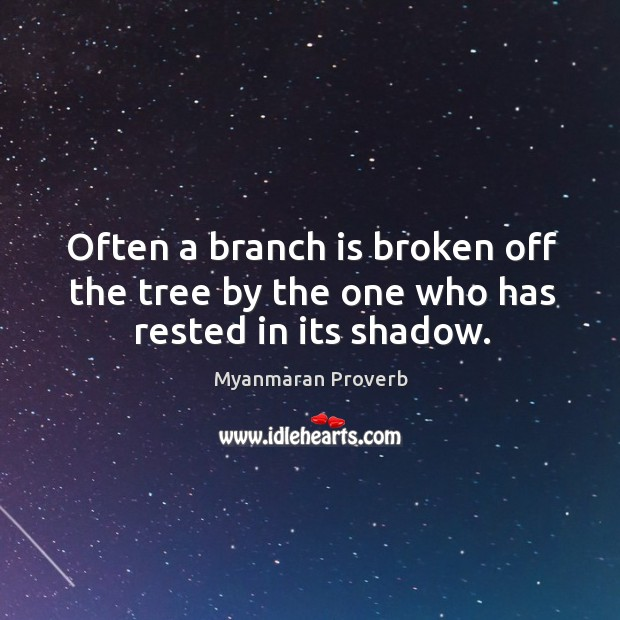 Often a branch is broken off the tree by the one who has rested in its shadow. Myanmaran Proverbs Image