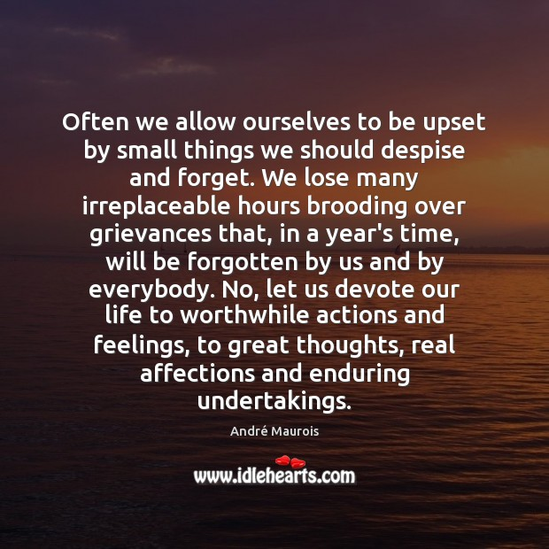 Often we allow ourselves to be upset by small things we should André Maurois Picture Quote