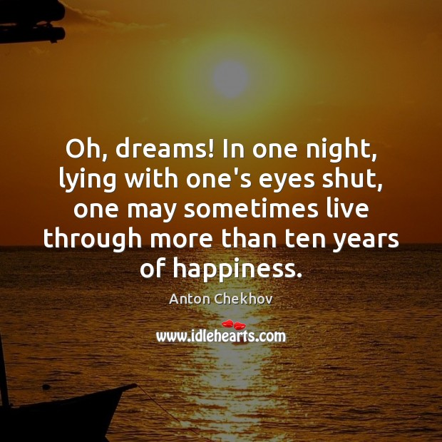 Image, Oh, dreams! In one night, lying with one's eyes shut, one may