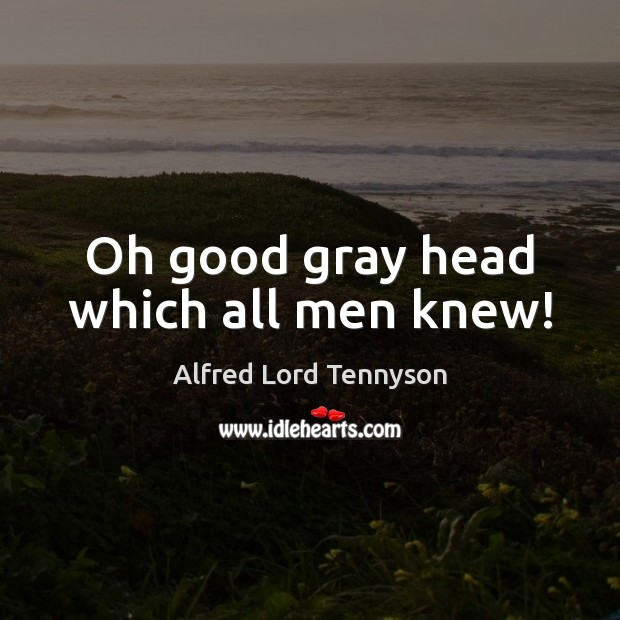 Image, Oh good gray head which all men knew!