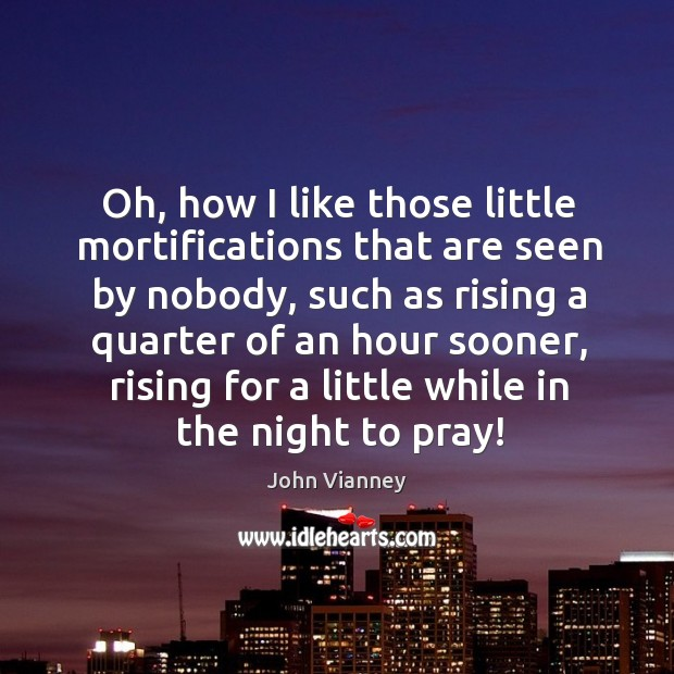 Oh, how I like those little mortifications that are seen by nobody, John Vianney Picture Quote
