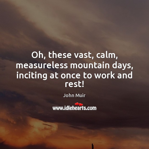 Oh, these vast, calm, measureless mountain days, inciting at once to work and rest! John Muir Picture Quote