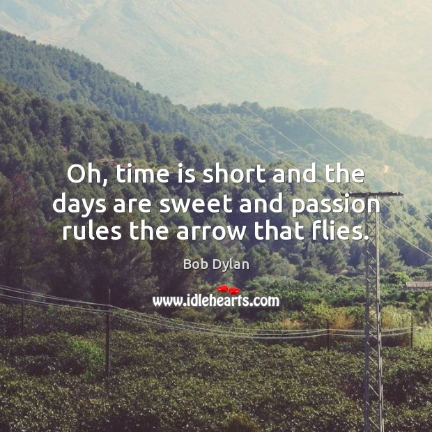 Oh, time is short and the days are sweet and passion rules the arrow that flies. Bob Dylan Picture Quote