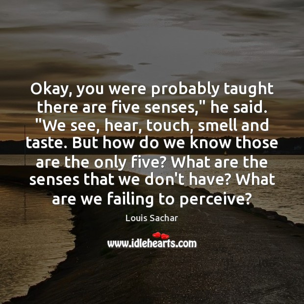 """Okay, you were probably taught there are five senses,"""" he said. """"We Louis Sachar Picture Quote"""