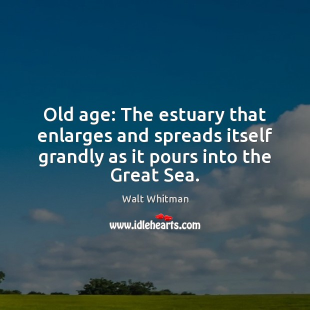 Old age: The estuary that enlarges and spreads itself grandly as it Image