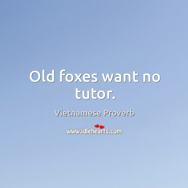 Old foxes want no tutor. Vietnamese Proverbs Image
