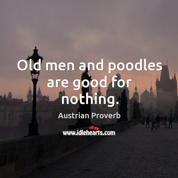 Old men and poodles are good for nothing. Austrian Proverbs Image