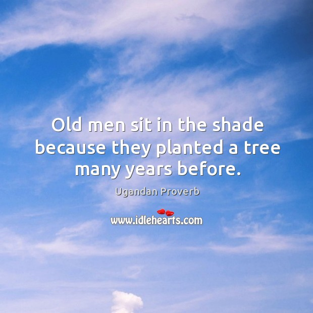 Old men sit in the shade because they planted a tree many years before. Ugandan Proverbs Image