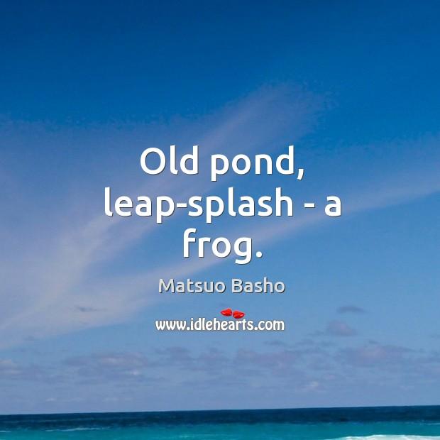 Old pond, leap-splash – a frog. Image