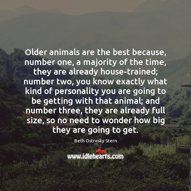 Image, Older animals are the best because, number one, a majority of the